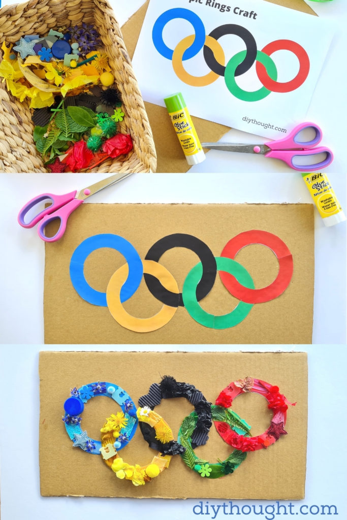 How to make Olympic Rings Collage Craft