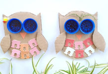Recycled trash owl craft